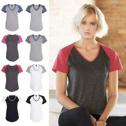 Anvil Women's Triblend Colorblock V-Neck Raglan T Shirt - 67