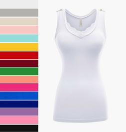 Women's V-Neck Tank Top Lace Trim Cotton Knit Stretch Casual