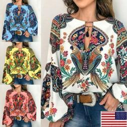 Women V-Neck Boho Floral Long Lantern Sleeve T Shirt Tops Ov
