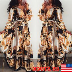 Women V-neck Long Sleeve Boho Holiday Vintage Maxi Dress Eve