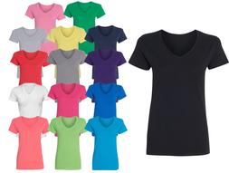 Women V-neck Premium Basic T-shirt Extra Soft lightweight Si