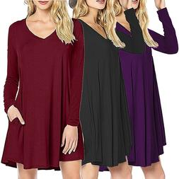 Stylish Women V Neck Loose Tops Dresses Party Clubwear Sexy