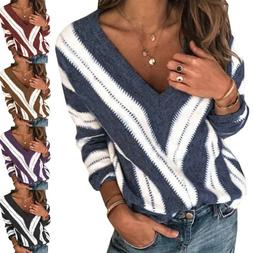 Women Knitted Color Block V Neck Long Sleeve Sweater Casual