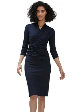 Women Wrap V Neck Casual Office Career Bodycon Midi Sheath D