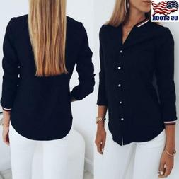 Womens Button Down Long Sleeve T-Shirt Ladies Casual V-Neck