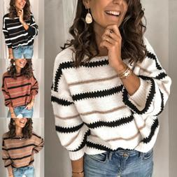 Womens Color Block V Neck Long Sleeve Sweater Loose Knitted