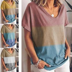 Womens Cotton Summer Loose fit T Shirt V Neck Casual Plus Si