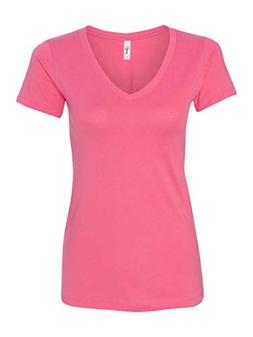 Next Level Womens Ideal V-Neck Tee  -HOT PINK -XS
