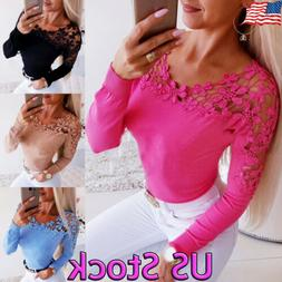 Womens Lace Floral V Neck Long Sleeve Tops Shirt Slim Blouse