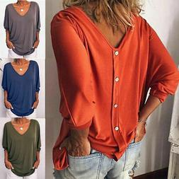 Womens Loose 3/4 Sleeve Back Buttons T Shirts Plus Size V Ne