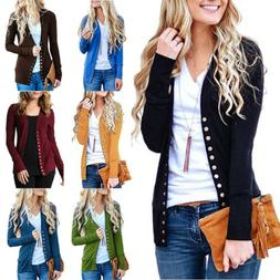 Womens Low Cut V-Neck Long Sleeve Knit Snap Button Down Card