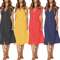 Womens Summer Beach V Neck Polka Dot Midi Dress Holiday Butt