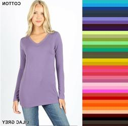 Womens T Shirt V Neck Long Sleeve Zenana Cotton Stretch Top