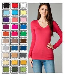 Womens T Shirt V Neck Long Sleeve Cotton Active Basic Layeri