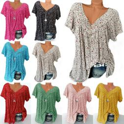 Womens V Neck Floral Tee T-shirts Short Sleeve Blouse Loose