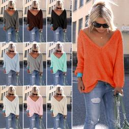 Womens V Neck Knitted Jumper Loose Sweater Long Sleeve Lady