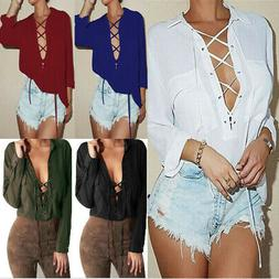 Womens V Neck Lace Up Casual Long Sleeve Loose Chiffon Blous