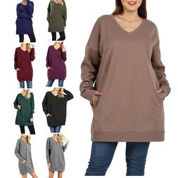 Womens V-Neck Over-sized Pullover Sweater Tunic Long Sleeve