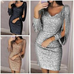 Womens V-Neck Sequined Bodycon Long Sleeve Evening Party Coc