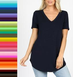 Womens Zenana Relaxed Fit V Neck TShirt Short Sleeve Rayon S