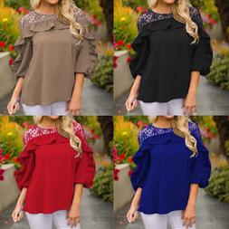 Young Women Solid Three Quarter Sleeve V-Neck T Shirt Lace P