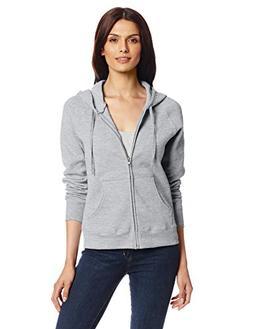 Hanes Women's Full Zip EcoSmart Fleece Hoodie, Gray, Medium